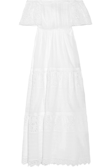 Valentino Woman Off-The-Shoulder Broderie Anglaise Cotton-Blend Maxi Dress White In Liaeco
