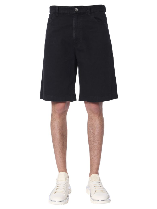 Raf Simons Denim Shorts In Nero