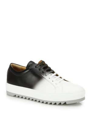 Salvatore Ferragamo Two-toned Leather Low Top Sneakers In Black, White