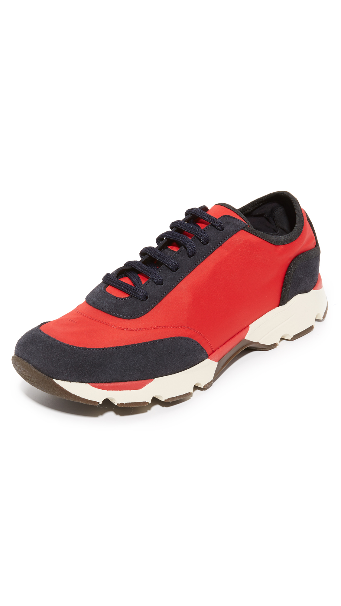 Marni Men's Nylon Low-top Sneakers In Red And Black