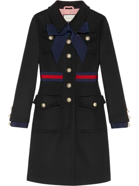 Gucci Black Wool Coat With Bow In Blue