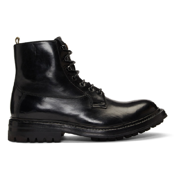 Officine Creative Exeter Leather Lace-up Boots In Nero Black