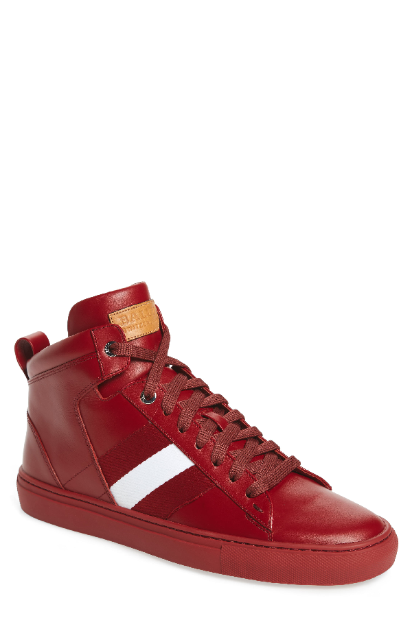 Bally Hedern   Leather High-top Sneakers In Red Leather