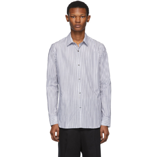 Ann Demeulemeester Black And White Riges Shirt In Blk/Wht