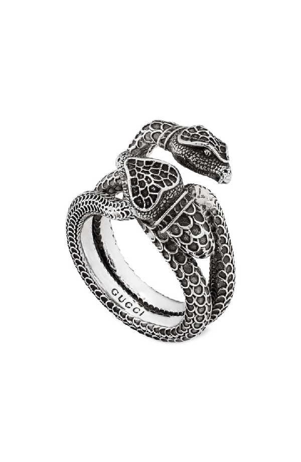 Gucci Men's Engraved Snake Ring In Sterling Silver