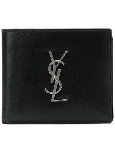 Saint Laurent Logo-plaque Bi-fold Wallet In Black