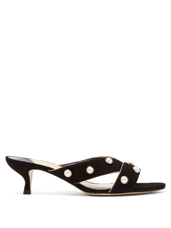 Sophia Webster Amelie Pearl-Studded Suede Mules In Black