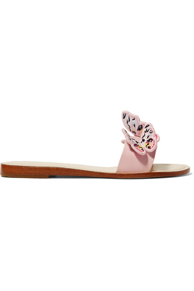 Sophia Webster Riva Embroidered Butterfly-appliquÉ Leather Slides In Pastel Pink