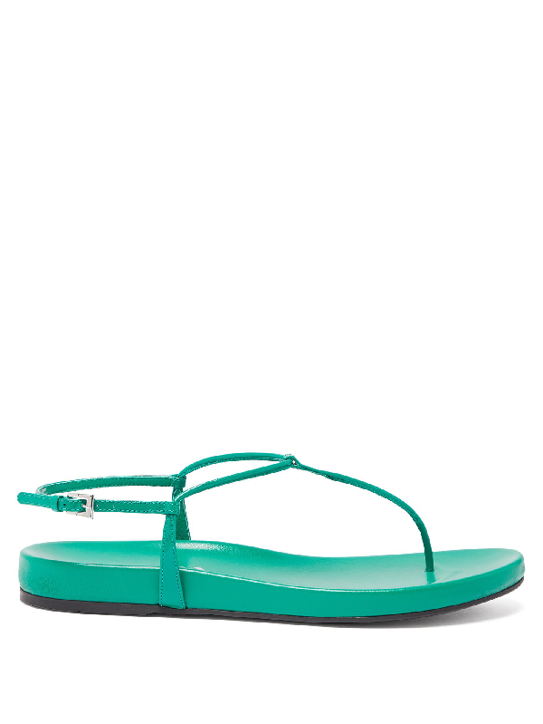 Prada Ankle-Strap Patent Leather Sandals In Green