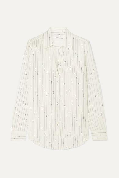 Equipment Essential Striped Button-down Silk Shirt In White