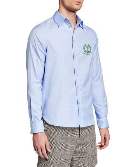 Gucci Men's Crest Long-sleeve Sport Shirt In Sky