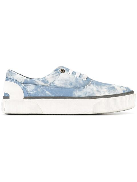 Lanvin Distressed Canvas Sneakers In Light Blue