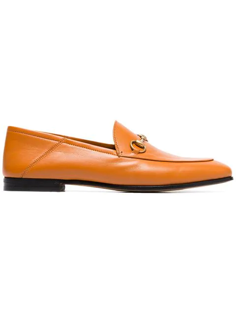 Gucci Cognac Brown Brixton Leather Loafers In 2202 Cognac