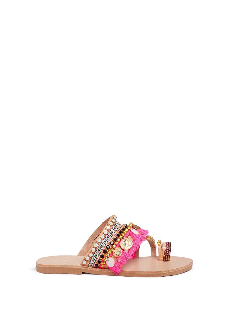 Mabu By Maria Bk 'rossetta' Tassel Embellished Leather Slide Sandals
