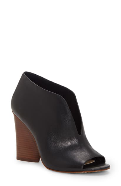 Vince Camuto Women's Andrita Block Heel Peep Toe Booties In Black Leather