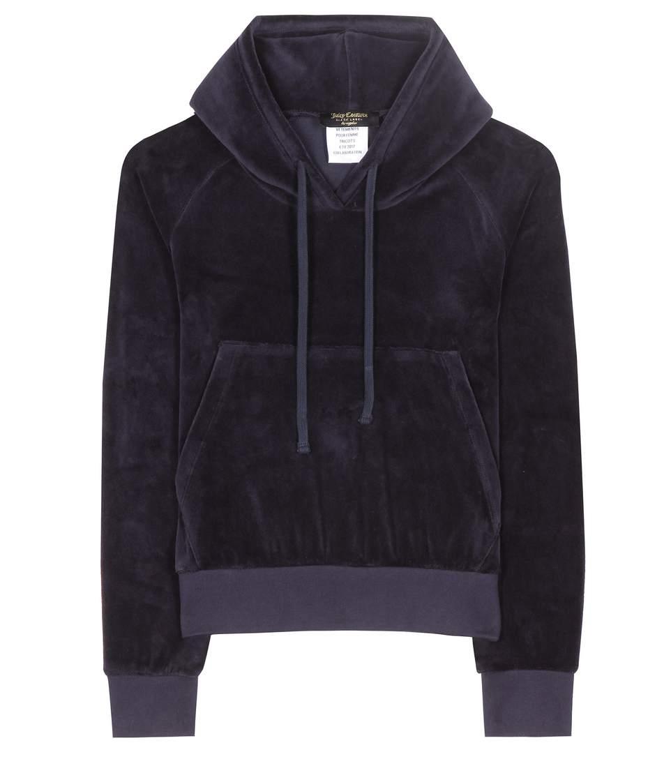 Vetements X Juicy Couture Hooded Velour Sweatshirt In Eavy