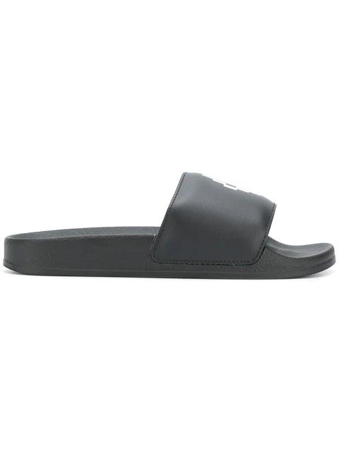 Marcelo Burlon County Of Milan Logo Slider Sandals In Black