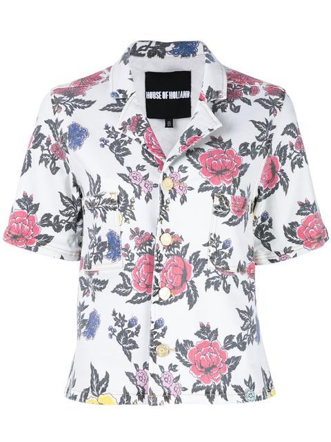 House Of Holland Floral-print Short-sleeved Denim Shirt In White