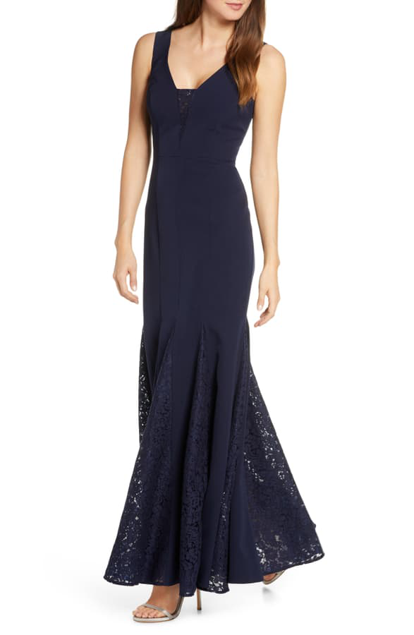 Eliza J Lace Inset Laguna Crepe Trumpet Gown In Navy