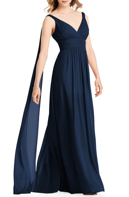 Jenny Packham Streamer Back Chiffon Gown In Midnight