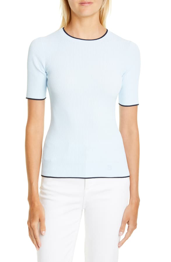 Ted Baker Ribbed Tipped Detail Short Sleeve Sweater In Light Blue