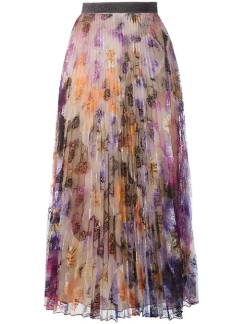 Christopher Kane Pleated Pansy-print Lace Maxi Skirt, Multicolor, Multi Colored