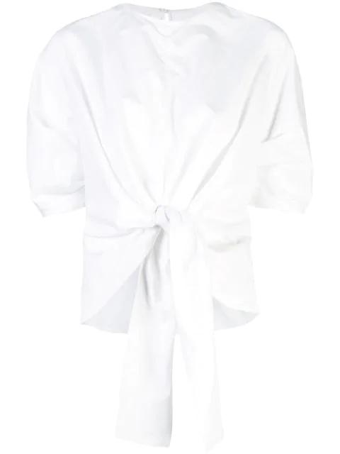 Proenza Schouler Crisp Cotton Tied Top In White