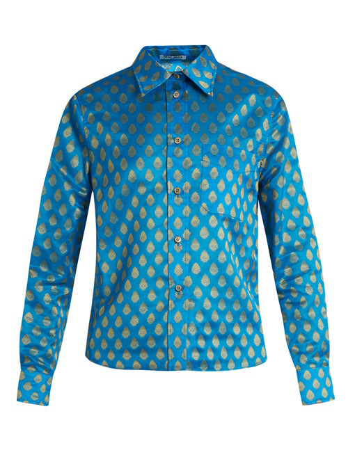Miu Miu Point-collar Leaf-jacquard Shirt In Blue
