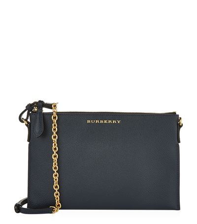 Burberry Leather Clutch Bag With Check Lining In Blue Carbon
