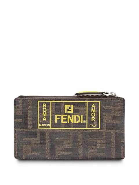 Fendi Ff Print Wallet In Brown