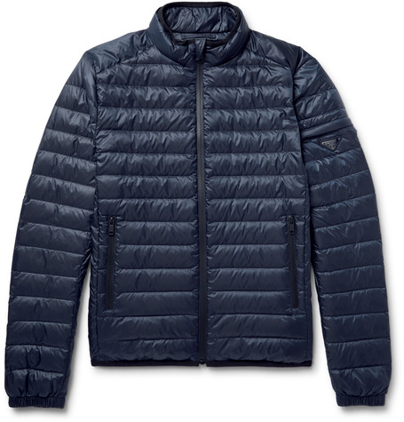 Prada Quilted Shell Down Jacket In Black