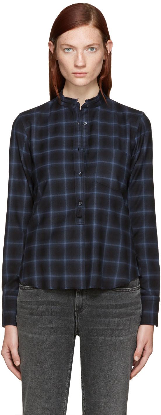 Helmut Lang Shrunken Plaid Pullover Shirt, Navy, Gray