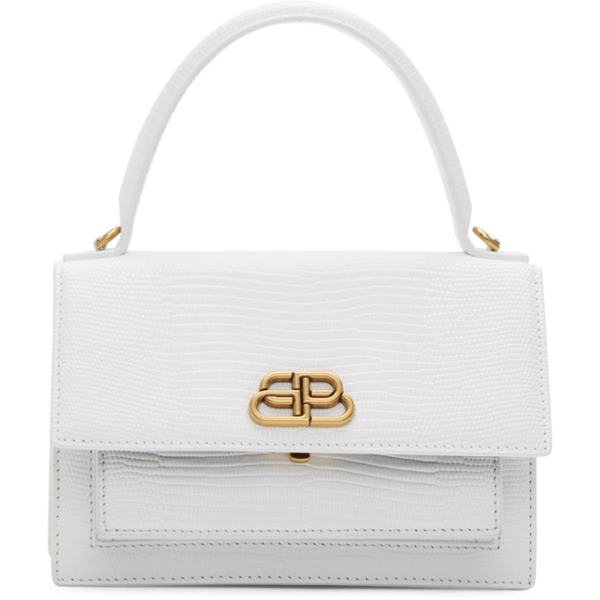 Balenciaga Extra-small Sharp Croc-embossed Leather Top Handle Satchel In 9000 Wht