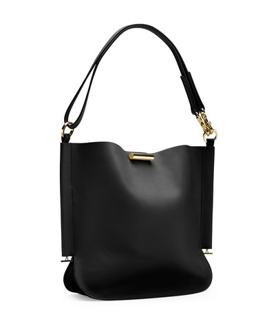 Stuart Weitzman Small Dorian Leather Crossbody Bag In Black Leather