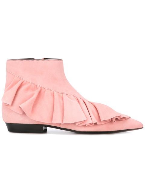 Jw Anderson Woman Ruffled Suede Ankle Boots Bubblegum In Bubblegum-pink