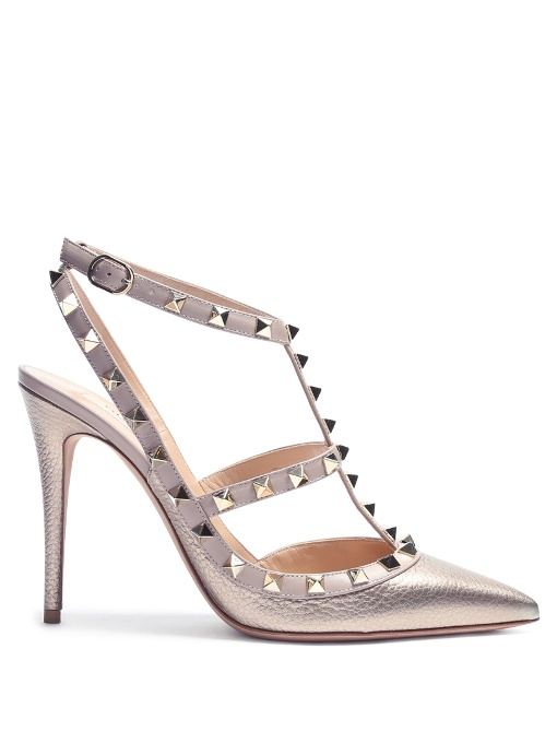 Valentino Garavani Rockstud T-bar Leather Pumps In Metallic-gold