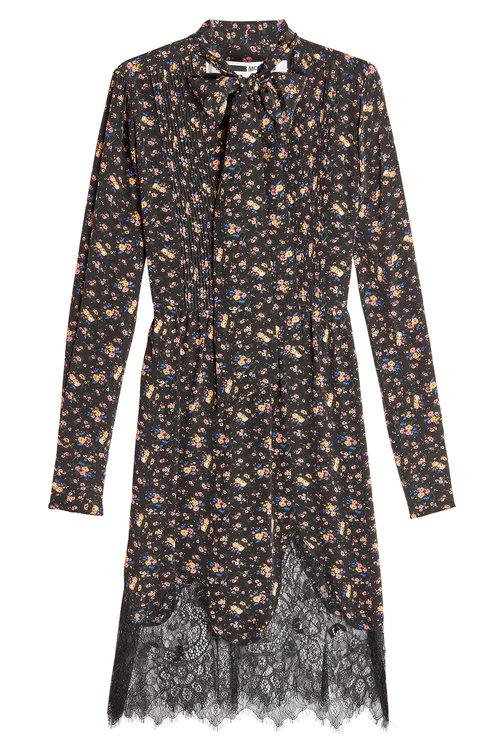 Mcq By Alexander Mcqueen Floral Pintuck Peasant Dress In Vietage Floral