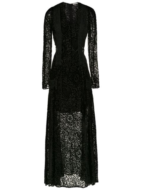 Martha Medeiros Long Velvet Dress In Black