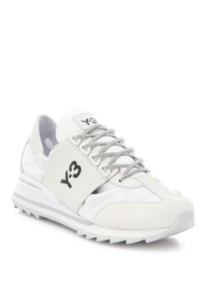 eb9f2952bda04 Y-3 Rhita Sport Leather And Fabric Sneakers In Crystal White