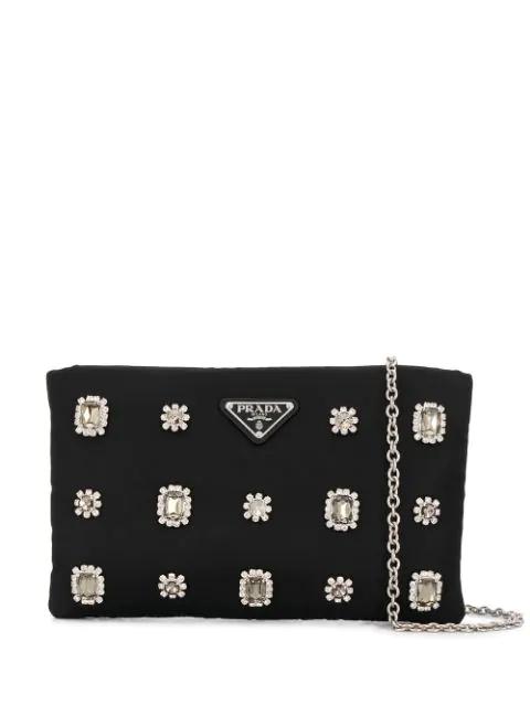 Prada Small Crystal Embellished Nylon Clutch In Black