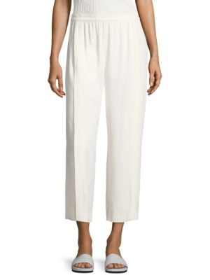 Helmut Lang Pleated Crepe Culottes In Ivory