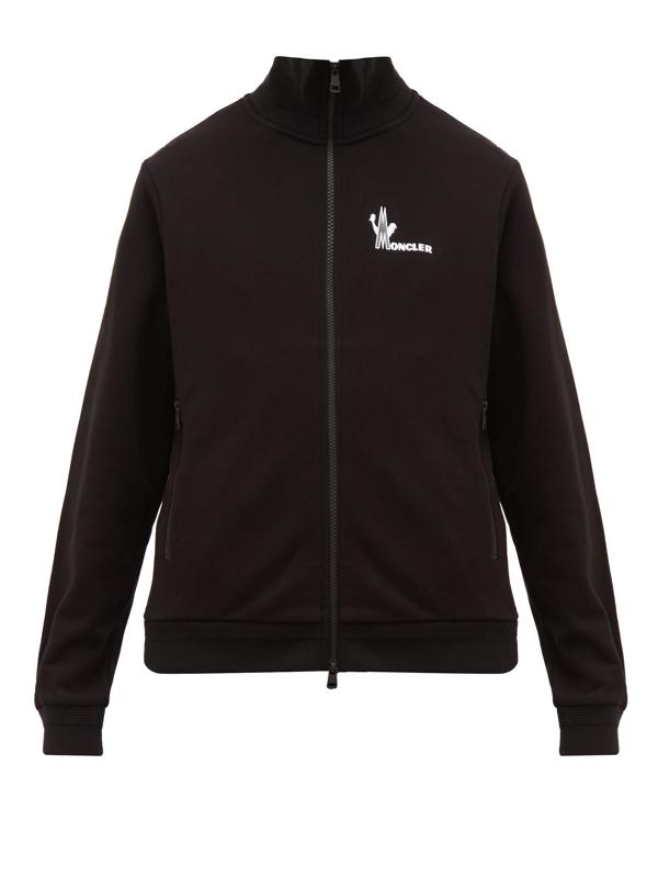 Moncler Zip Up Cotton Blend Sweatshirt Hoodie In 999 Black