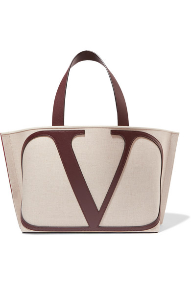 Valentino Go Logo Large Leather-Trimmed Canvas Tote Bag - Neutral In Beige