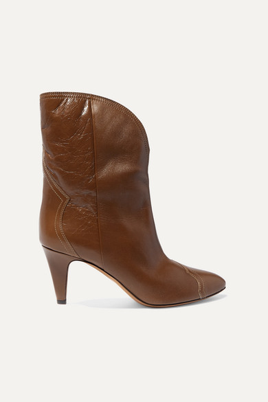 Isabel Marant Dythey Leather Ankle Boots In Taupe