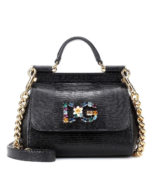 caa35ad64b Dolce & Gabbana Medium Calfskin Sicily Bag With Iguana Print And Dg Crystal  Logo Patch In