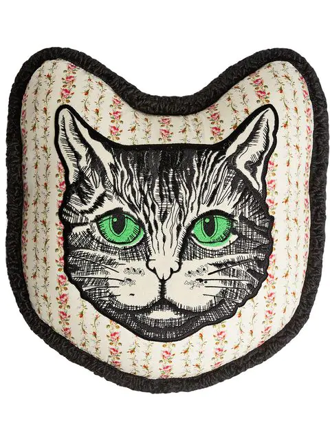 Gucci Embroidered-cat Floral-print Satin Cushion In Black ,neutral