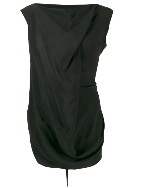 Rick Owens Draped Crepe Blouse In Black