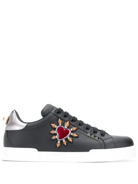 Dolce & Gabbana Portofino Sneakers With Patch In Black