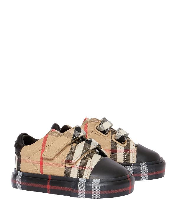 20ffbc0ea5fc Burberry Kid's Mini Markham Check Sneakers, Baby In Black   ModeSens