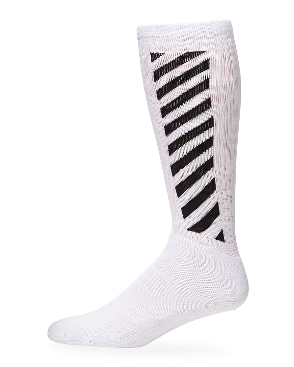 Off-White Men's Diagonal-Stripe Mid-Length Socks In Orange